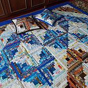 """Для дома и интерьера ручной работы. Ярмарка Мастеров - ручная работа Лоскутное покрывало """"Небо Саванны""""+2 наволочки. Handmade."""
