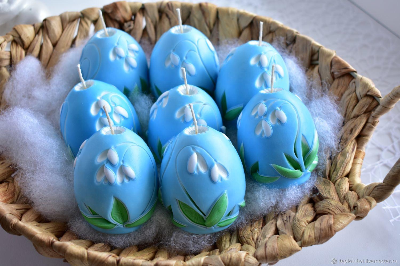 Резная свеча яйцо - голубой белый зеленый - Подснежник, Свечи, Тамбов,  Фото №1