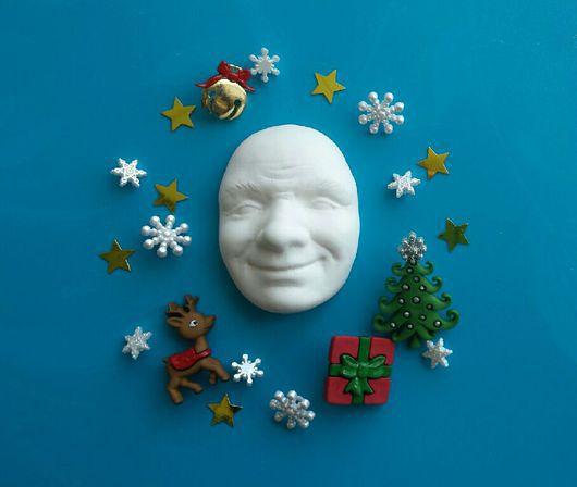 Куклы и игрушки ручной работы. Ярмарка Мастеров - ручная работа. Купить Лицо Деда Мороза из флюмо 6см. Handmade. Лицо