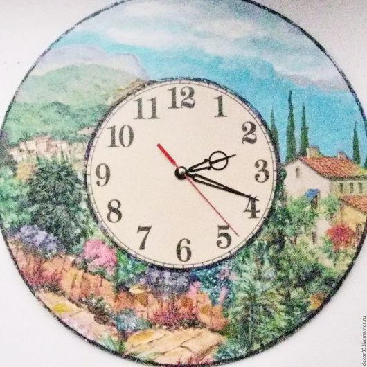 Часы для дома ручной работы. Ярмарка Мастеров - ручная работа. Купить Часы настенные Средиземноморье бол.. Handmade. Комбинированный, домик