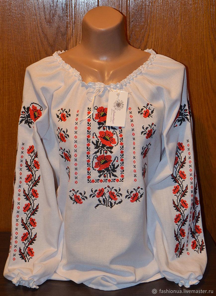 Вышиванка женская  Маки . Крестик, Блузки, Черкассы,  Фото №1