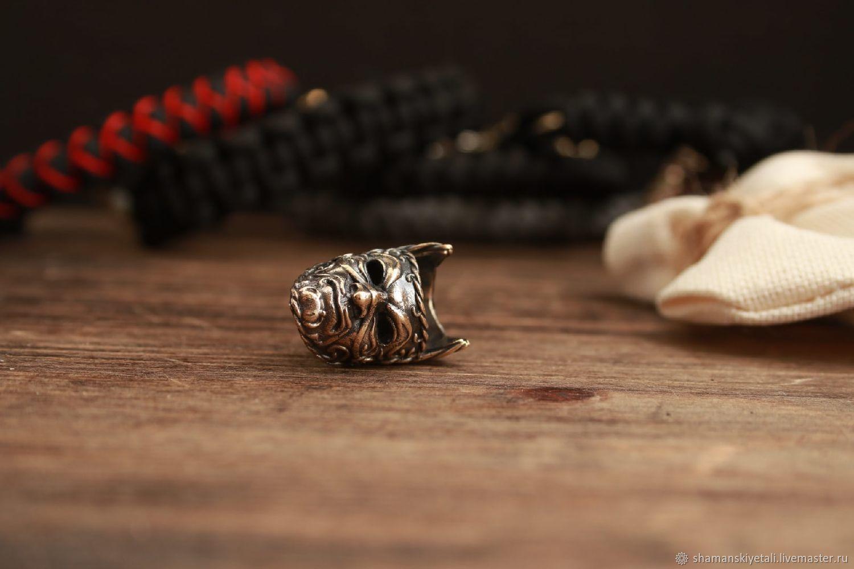 Bronze Mask bead, lanyard bead, paracord bead, Knives, Volgograd,  Фото №1