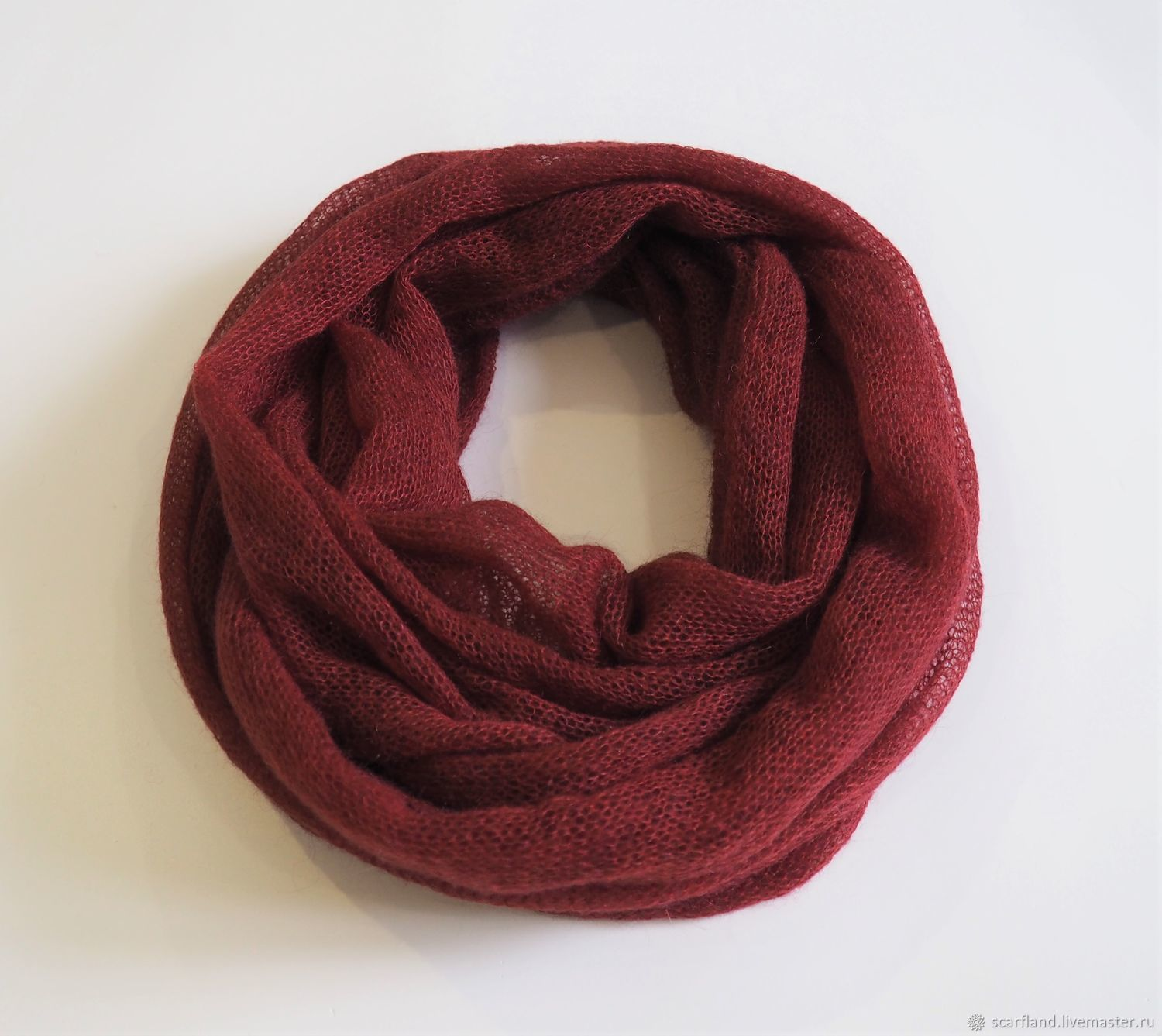 Snood knitted from kid mohair dark red (in two turns), Snudy1, Cheboksary,  Фото №1