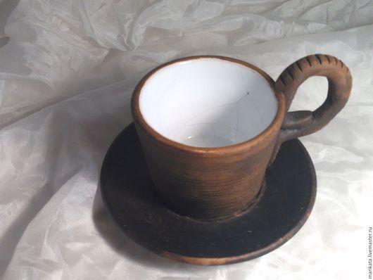 """Сервизы, чайные пары ручной работы. Ярмарка Мастеров - ручная работа. Купить """"Шоколад с молоком"""", чайная пара, керамика.. Handmade."""