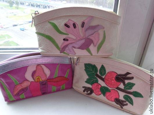 Женские сумки ручной работы. Ярмарка Мастеров - ручная работа. Купить Косметички из натуральной кожи. Handmade. Разноцветный, натуральная кожа