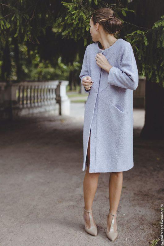 Верхняя одежда ручной работы. Ярмарка Мастеров - ручная работа. Купить Пальто из шерсти-букле нежно-сиреневого оттенка. Handmade.