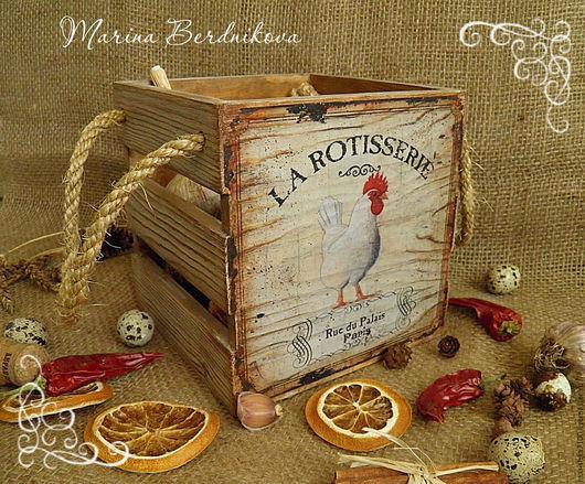 """Корзины, коробы ручной работы. Ярмарка Мастеров - ручная работа. Купить Короб """"La Rotisserie"""". Handmade. Коричневый, короб"""