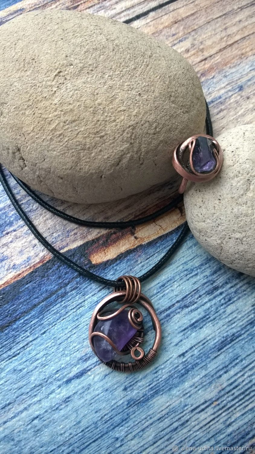 Copper pendant and ring with amethyst – shop online on Livemaster ...
