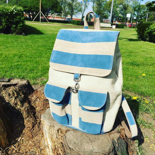 Рюкзаки ручной работы. Ярмарка Мастеров - ручная работа. Купить Рюкзак из кожи и льна. Handmade. Лен, ручная работа handmade
