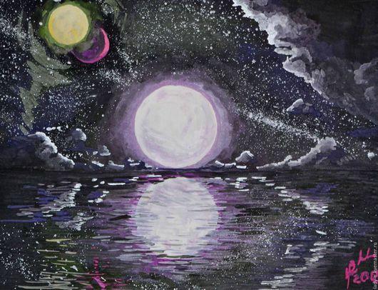 `Пейзаж с тремя лунами`, картина, гуашь