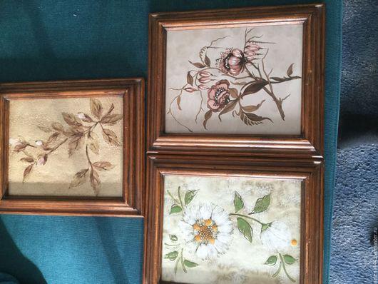 Винтажные предметы интерьера. Ярмарка Мастеров - ручная работа. Купить Картины цветы керамика Германия. Handmade. Комбинированный, цветы