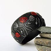 Украшения handmade. Livemaster - original item A wide bracelet made of polymer clay Poppies. Handmade.