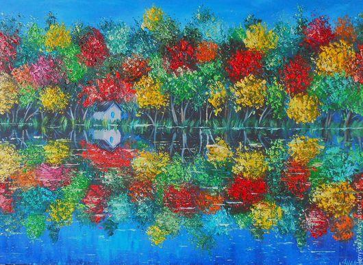 Пейзаж ручной работы. Ярмарка Мастеров - ручная работа. Купить Картина маслом Осень 40х50см. Handmade. Комбинированный, отражение в воде