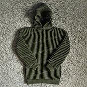 Одежда handmade. Livemaster - original item Knitted sweater with hood, khaki (No. №438). Handmade.