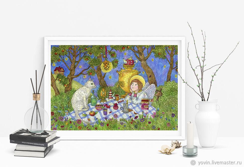 Постер с ангелом Тихий вечер в саду Картина для души с ангелом, Картины, Санкт-Петербург,  Фото №1
