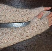 Аксессуары handmade. Livemaster - original item Down-filled mitts, knitted beige Avtoledi natural goat down. Handmade.