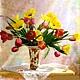 """Картины цветов ручной работы. Ярмарка Мастеров - ручная работа. Купить """"Тюльпаны в вазе"""" (краски,холст). Handmade. Тюльпаны, разноцветный"""