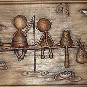 Картины и панно ручной работы. Ярмарка Мастеров - ручная работа Резное дерево_Рыбаки. Handmade.