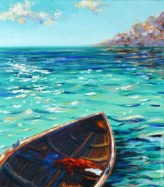 Пейзаж ручной работы. Ярмарка Мастеров - ручная работа. Купить Лодка для двоих. Handmade. Бирюзовый, море, пейзаж, спокойствие