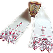 Русский стиль handmade. Livemaster - original item Towel on the icon hand embroidery on linen white red. Handmade.