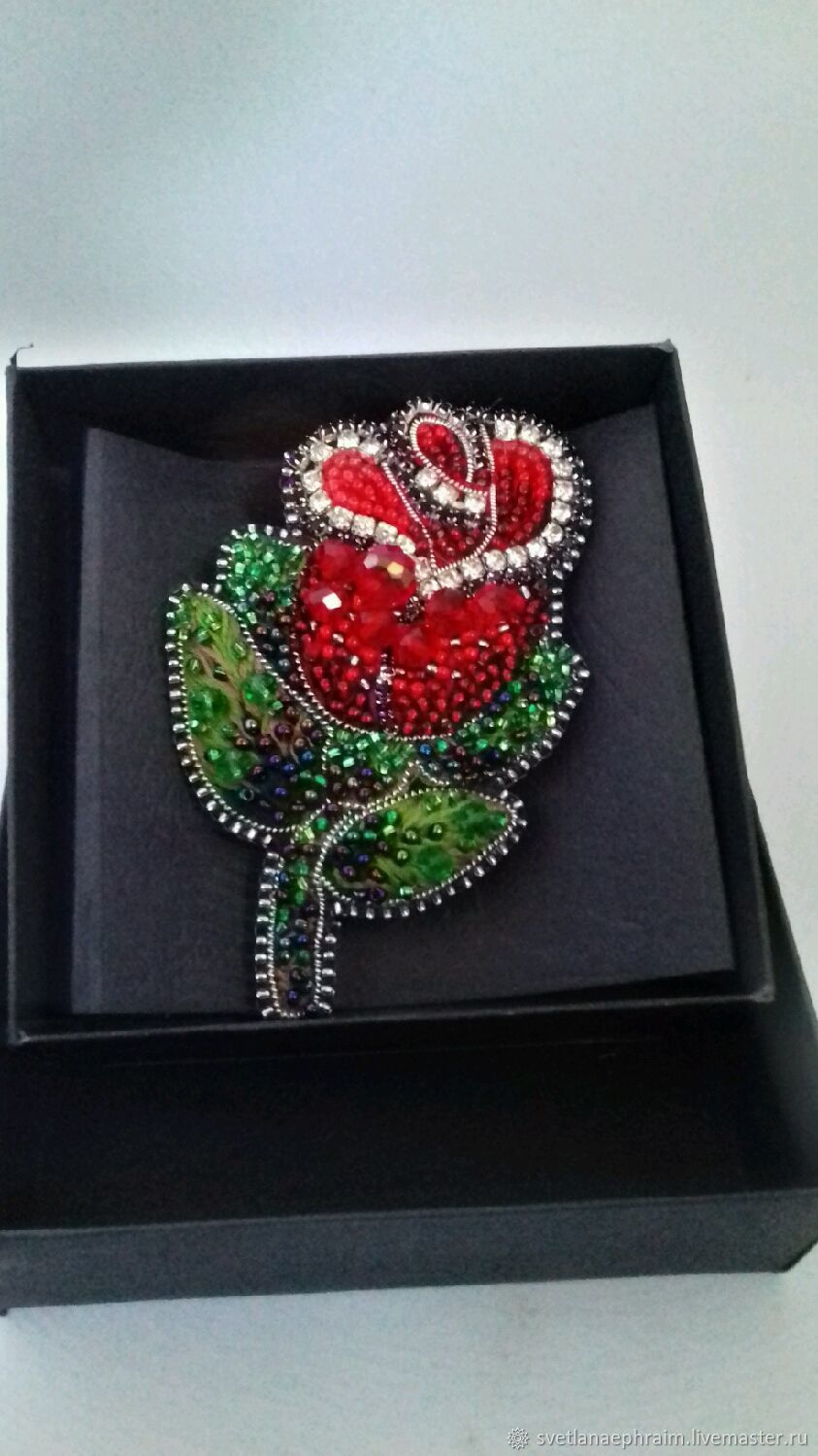 A beaded brooch rose, Brooches, Springs,  Фото №1