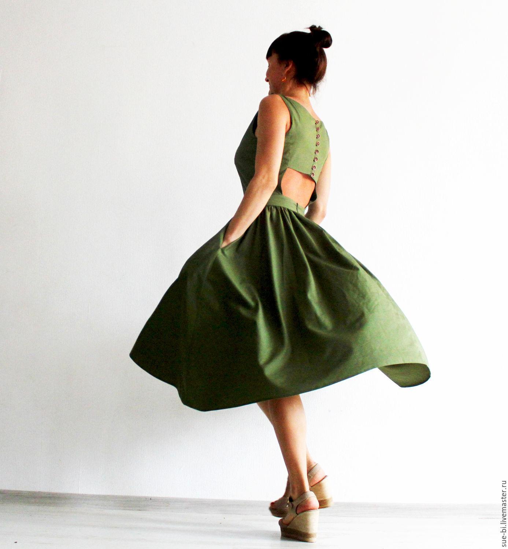 7959755f704 зеленое платье миди платье с открытой спиной зеленое платье с юбкой  полусолнце платье с пышной юбкой ...