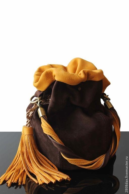 """Женские сумки ручной работы. Ярмарка Мастеров - ручная работа. Купить Сумка """"MISTRAL"""", замшевая сумка, сумка-мешок, желтый. Handmade."""
