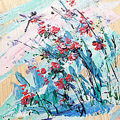 Картины и панно handmade. Livemaster - original item gift for 8 March,wildflowers, painting on wood. Handmade.