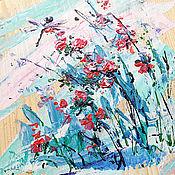 Картины и панно handmade. Livemaster - original item Gift for 8 March,wildflowers, painting on wood. Handmade.