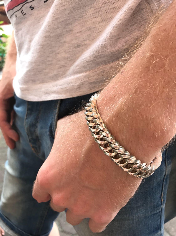 Мужской браслет серебро 925 пробы, Браслет из бусин, Москва,  Фото №1