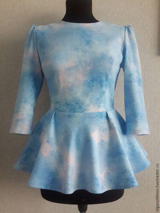 Блузки ручной работы. Ярмарка Мастеров - ручная работа. Купить Блуза джинсовая с баской. Handmade. Голубой, джинсовая блуза