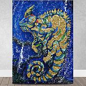 Картины и панно handmade. Livemaster - original item Oil painting Chameleon abstract with potal 50h70 cm. Handmade.