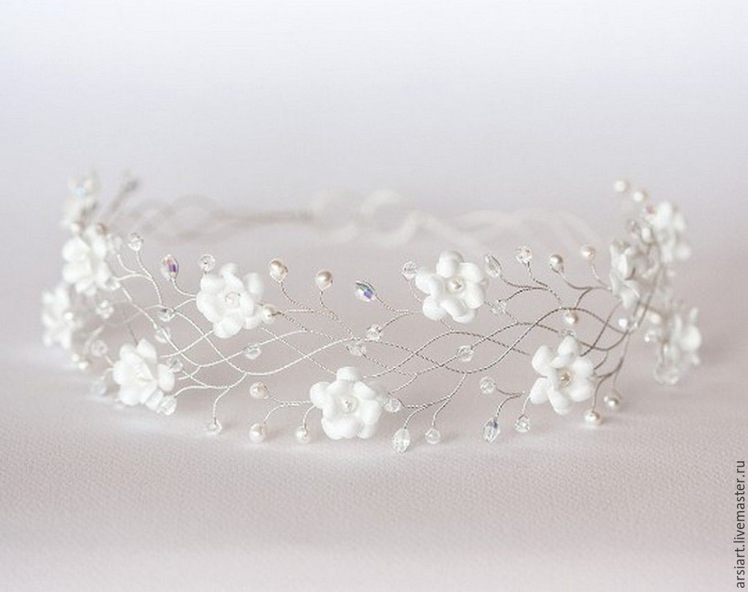 32 Silver flower crown Wreath with white flowers, wedding, Hair Decoration, Athens,  Фото №1