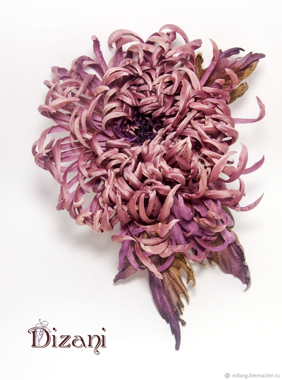 Chrysanthemum brooch.Silk flowers.Fabric flowers, Flowers, Moscow,  Фото №1