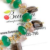 Украшения handmade. Livemaster - original item Bracelet Onyx Smoky Topaz gold Plated silver Natural stones. Handmade.