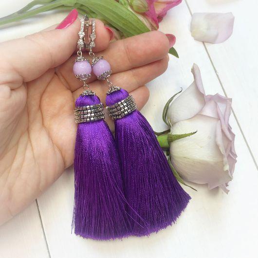 Серьги ручной работы. Ярмарка Мастеров - ручная работа. Купить Серьги кисти длинные ярко фиолетовые с камнями. Handmade.