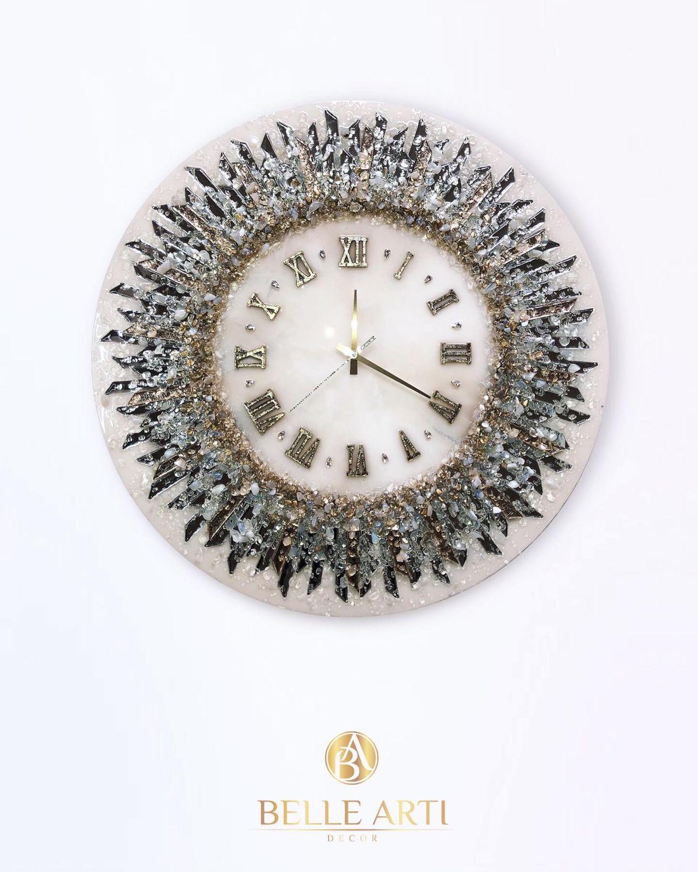 Глянцевые часы ручной работы с зеркальными лучами и хрусталем, Часы, Краснодар,  Фото №1