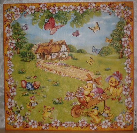 """Кухня ручной работы. Ярмарка Мастеров - ручная работа. Купить Разделочная доска панно """"Весна, Пасха, Радость"""". Handmade. Разноцветный"""
