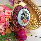 Сувениры и подарки handmade. Livemaster - original item Easter egg First flowers (interior on a stand) with embroidery. Handmade.