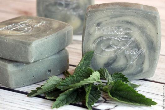 Ланолиновое мыло-шампунь на отваре крапивы с голубой глиной подарок девушке маме