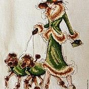 Картины и панно ручной работы. Ярмарка Мастеров - ручная работа дама с пуделями вышивка счетный крест. Handmade.