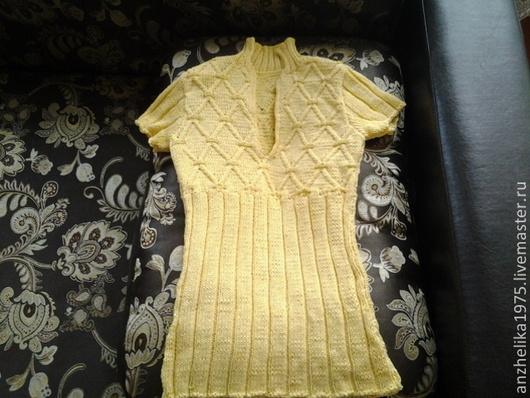 Кофты и свитера ручной работы. Ярмарка Мастеров - ручная работа. Купить пуловер с короткими рукавами. Handmade. Рисунок, лимонный, для девочки