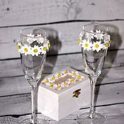 Свадебный салон ручной работы. Ярмарка Мастеров - ручная работа Свадебные бокалы с цветами из полимерной глины. Handmade.