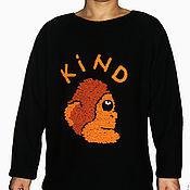 Одежда ручной работы. Ярмарка Мастеров - ручная работа Черный мужской джемпер с обезьяной. Handmade.