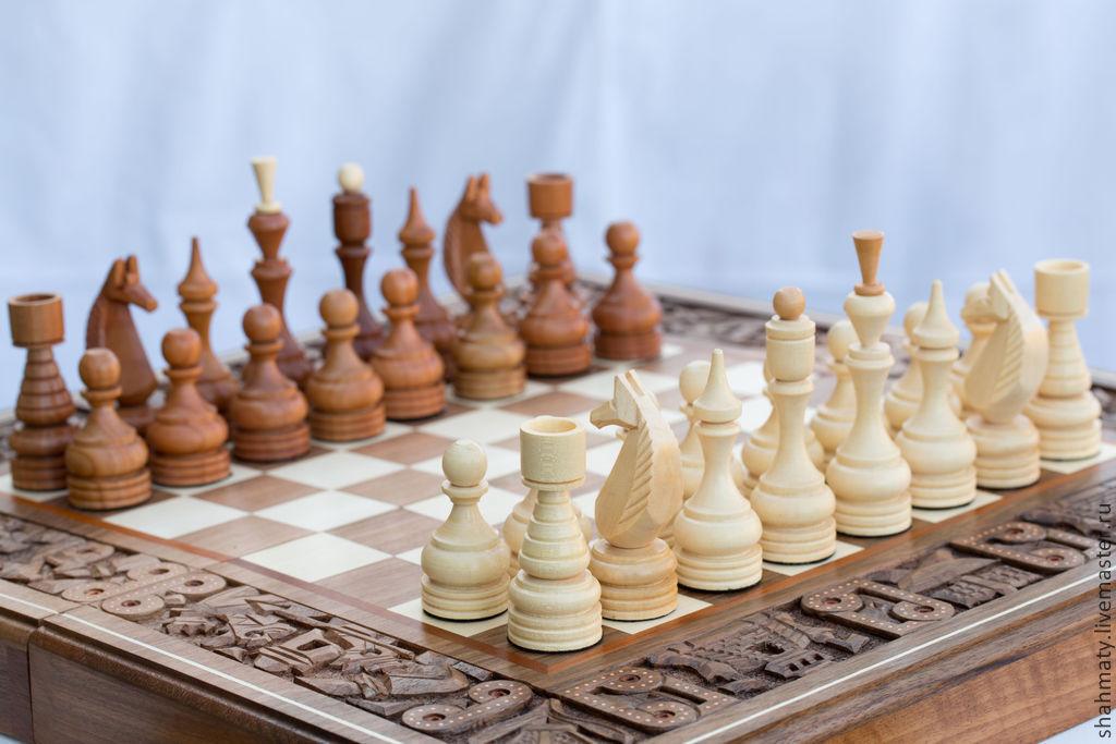 шахматы плюс нарды и шашки деревянные с резьбой битва за корону