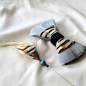 Аксессуары handmade. Livemaster - original item Bow tie and boutonniere set with pheasant and goose feathers. Handmade.