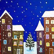 """Картины и панно ручной работы. Ярмарка Мастеров - ручная работа Картина """"Зимний город"""". Handmade."""