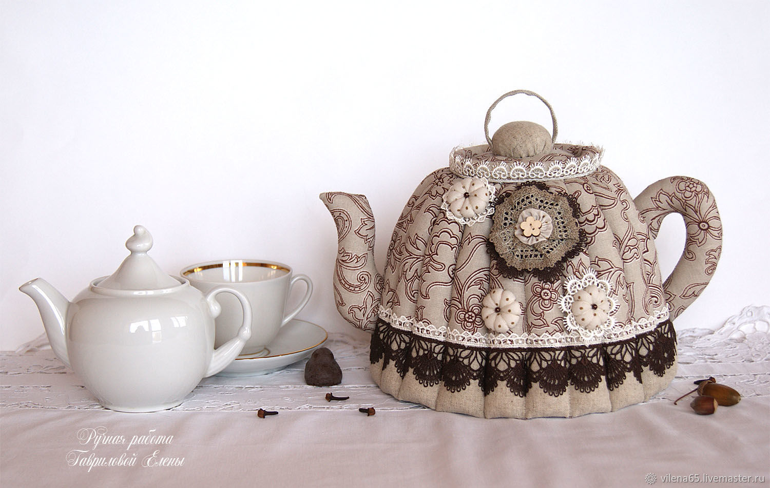 Heating pad on the kettle linen. Gift, interior decoration, cozy kitchen, Teapot cover, Magnitogorsk,  Фото №1