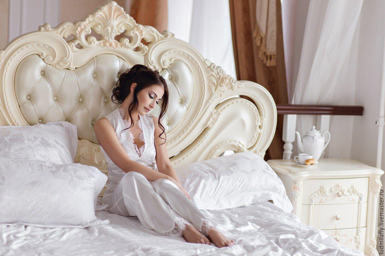 Пижама с брюками белая с кружевом шантильи, Пижамы, Санкт-Петербург,  Фото №1