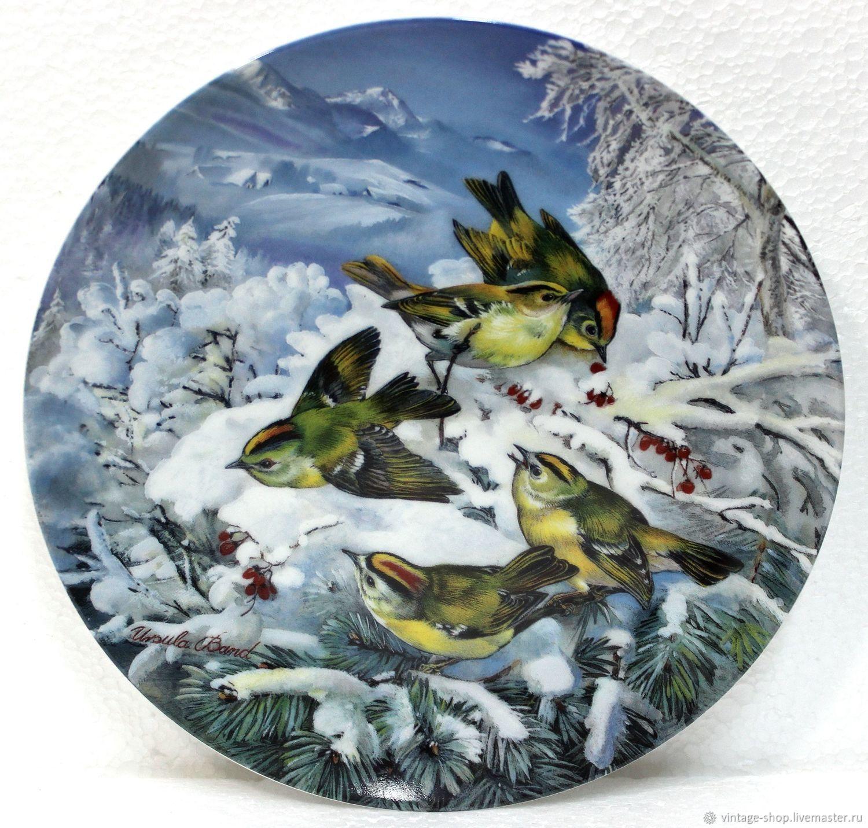 """Винтаж: Коллекц. тарелка """"Желтоголовый королек в зимнем лесу"""" Hutschenreuter, Винтажные предметы интерьера, Франкфурт-на-Майне, Фото №1"""